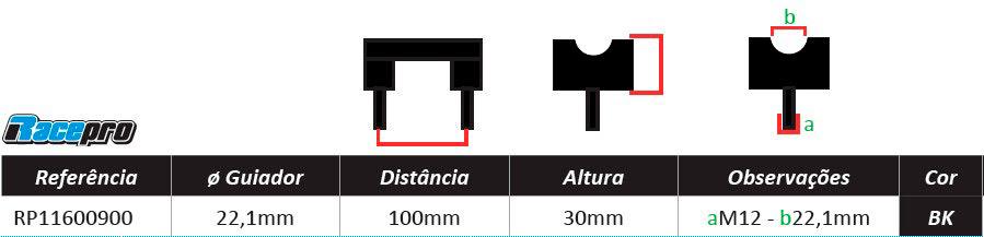 Suportes de Guiador T-BONE 22.2mm x 30mm Pretos