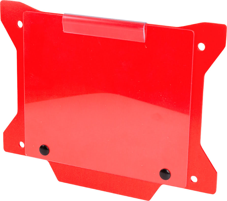 FRONT NUMBER PLATE PLASTIC WITH WINDOW NEW X SHAPE RED APICO